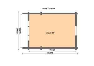 Баня 7.5х5.5 м из оцилиндрованного бревна с мансардой