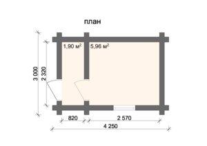 Баня 4.0х3.0 м из оцилиндрованного бревна
